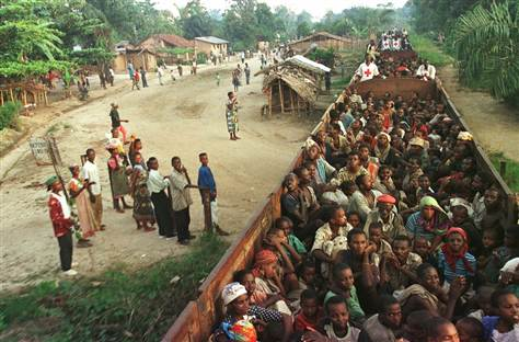 Rwandan Hutu refugees are evacuated in 1997 by train from the Biaro refugee camp south of Kisangani in eastern Congo, then Zaire.