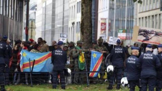 Les congolais en manifestations à Bruxelles