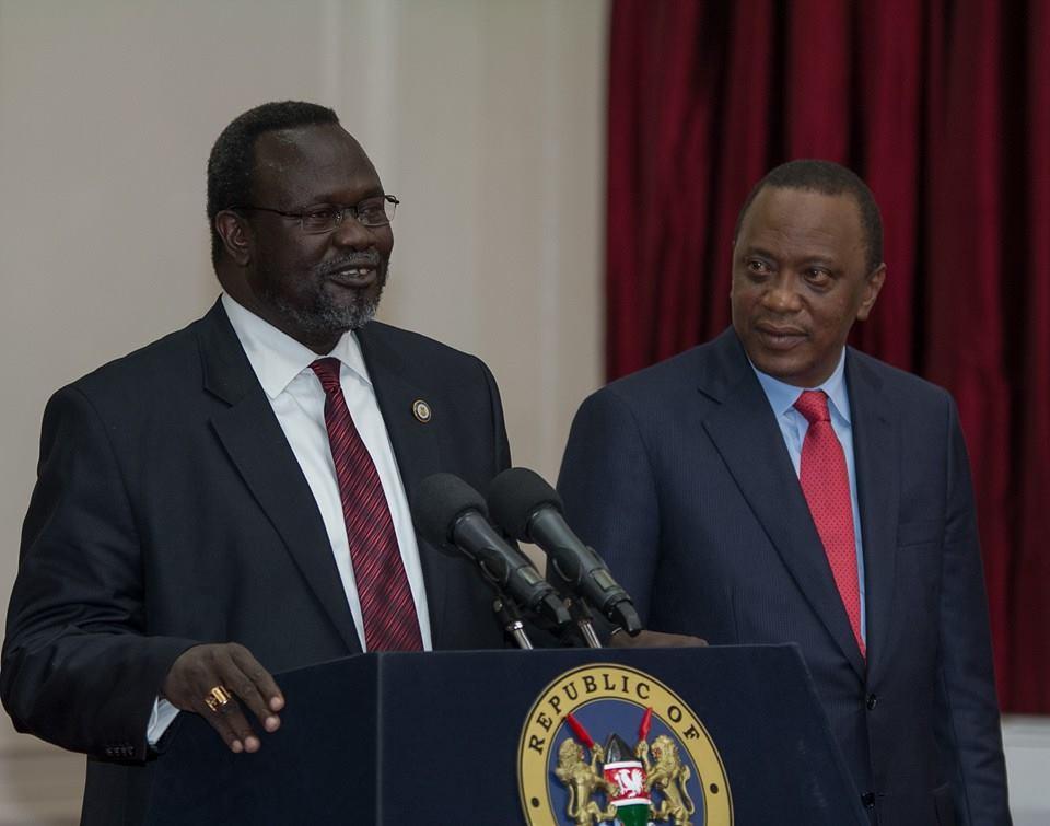 Riek Machar muri State House kwa Uhuru Kenyatta muri gicurasi, 2014