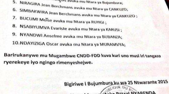 BURUNDI: ABARWANYA MANDA YA 3 YA PETERO NKURUNZIZA BIRUKANWE MURI CNDD-FDD.