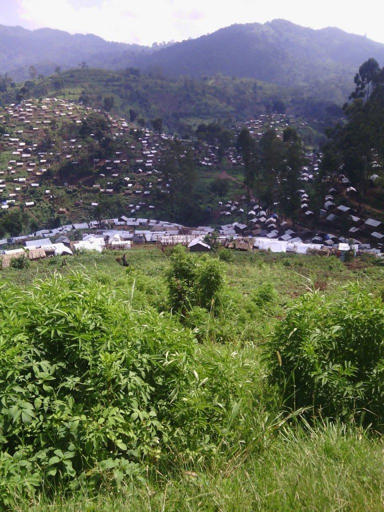 Inkambi y'impunzi iri ahitwa Bibwe muri Masisi. Hejuru kuri uwo musozi niho FARDC/RDF yashinze ibirindiro